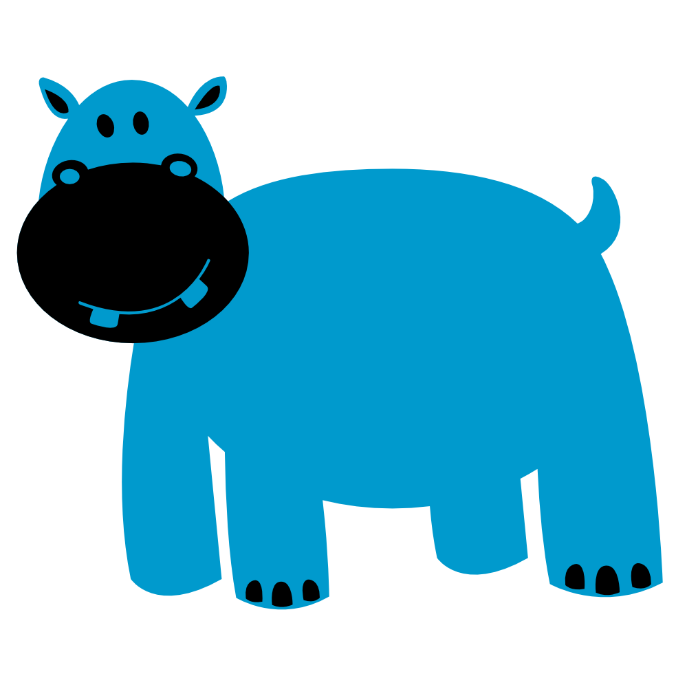 Hippo Art Images: Cute Baby Hippo Cartoon Clipart