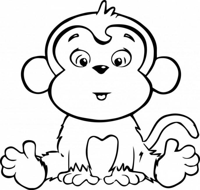 baby chimpanzee coloring pages   Cute Baby Monkey Drawings   Free download best Cute Baby ...