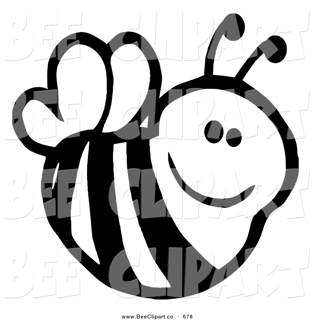 1024x1044 Cartoon Vector Clip Art Of A Cute Black And White Smiling Bee
