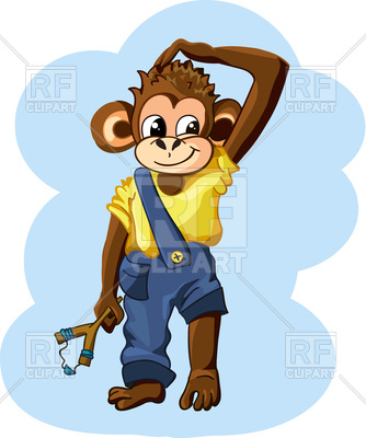 334x400 Cute Cartoon Monkey Boy With Slingshot Royalty Free Vector Clip