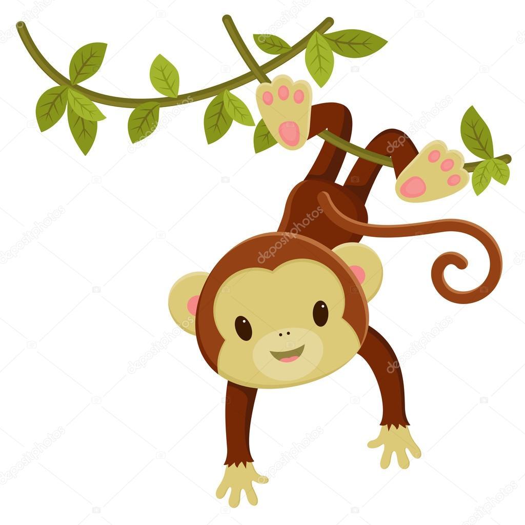 1024x1024 Cute Cartoon Monkey Hanging On A Liana. Vector Clip Art Illustra