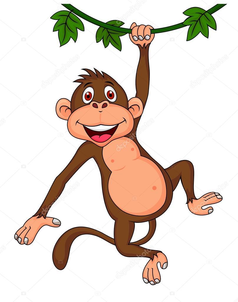 808x1023 Cute Monkey Cartoon Hanging Stock Vector Tigatelu