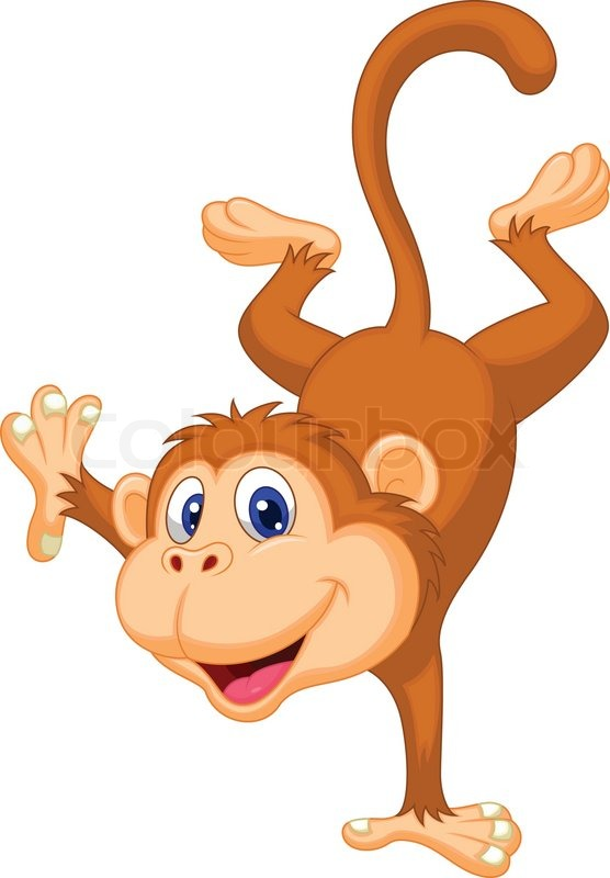 556x800 Cute Monkey Cartoon Standing In Its Hand Stock Vector Colourbox