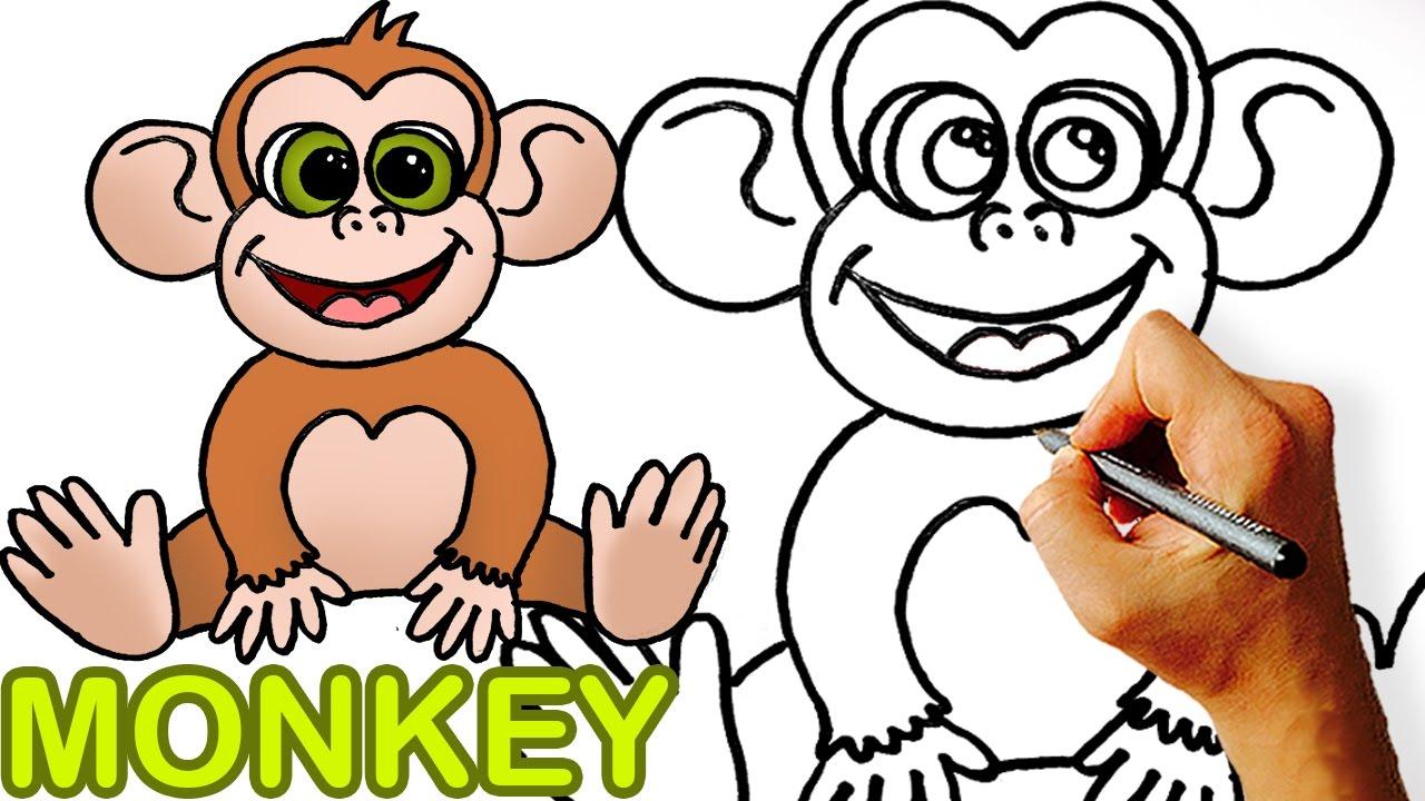 1280x720 Very Easy! How To Draw Cute Cartoon Monkey. Art For Kids!