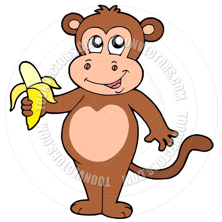 940x940 Cartoon Cute Monkey With Banana By Clairev Toon Vectors Eps