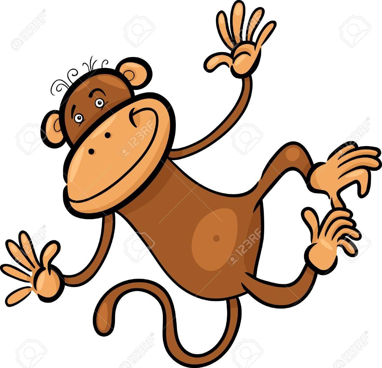 1300x1253 Cartoon Humorous Illustration Of Cute Funny Monkey Royalty Free