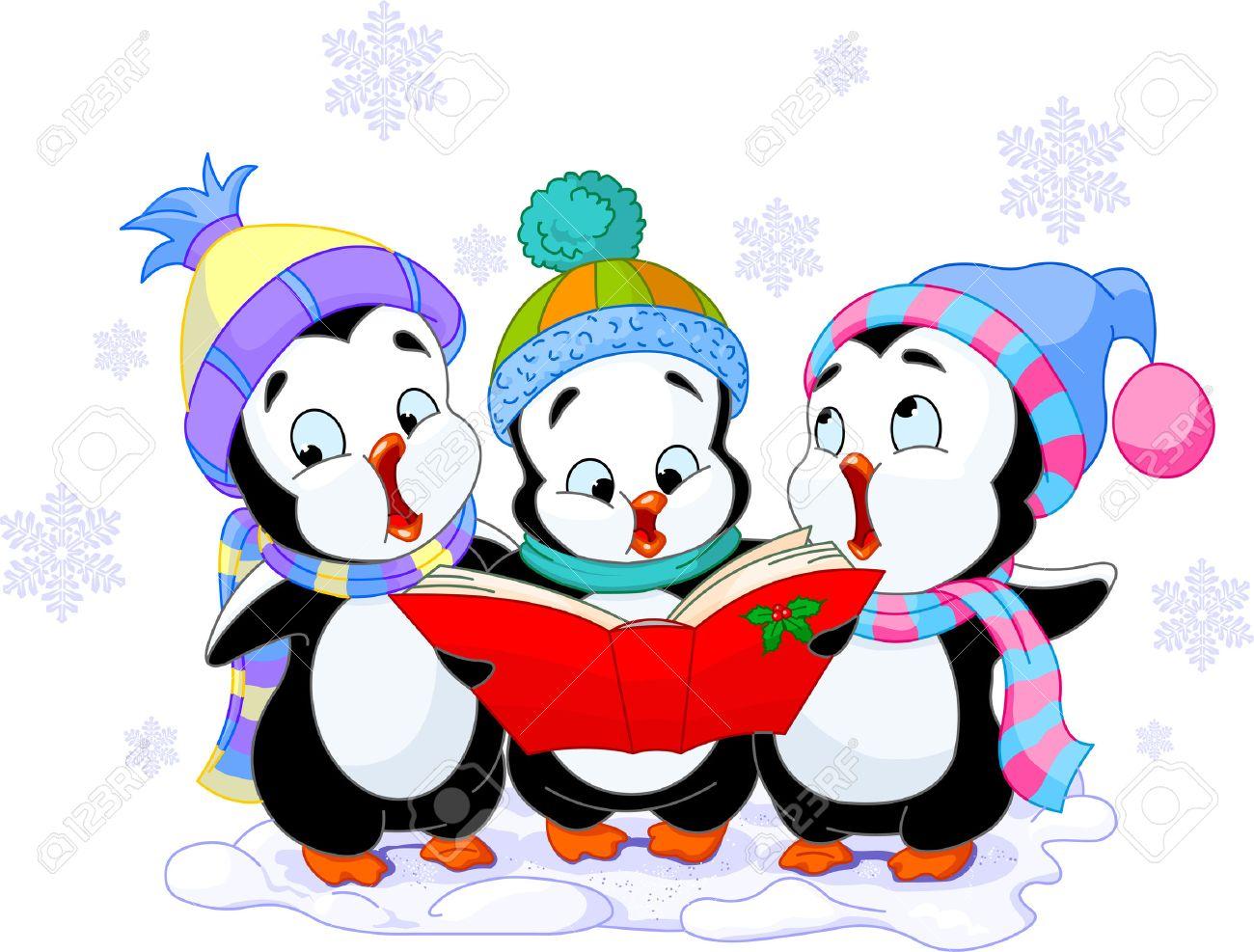 1300x987 Cute Cartoon Penguins Singing Christmas Carols Royalty Free
