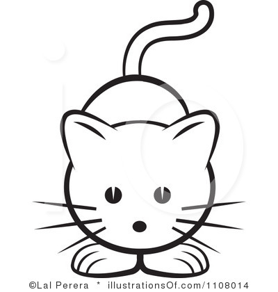 Cute Cat Clipart Black And White