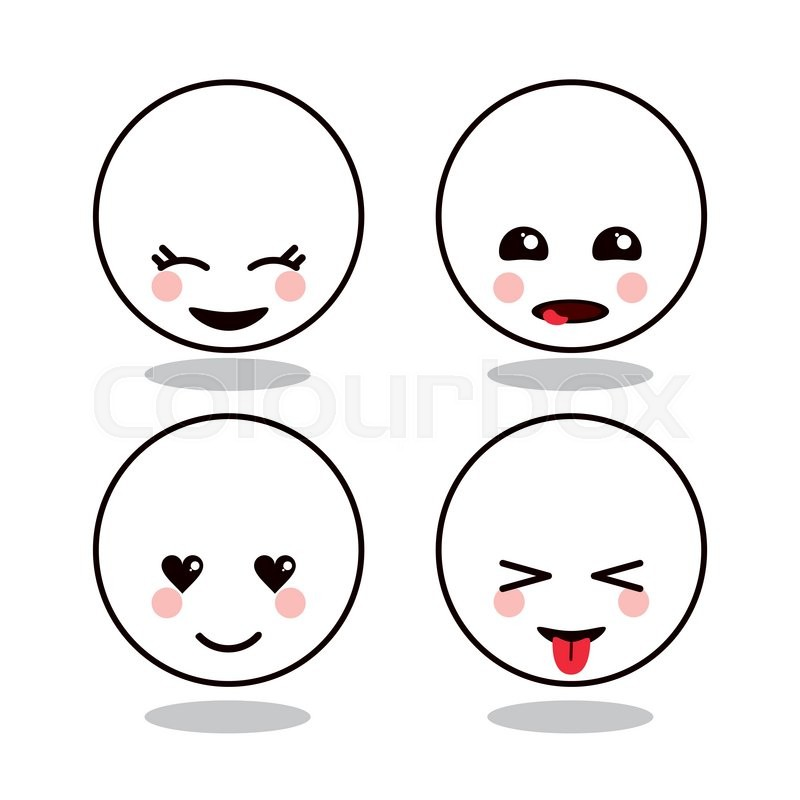 800x800 Kawaii Cartoon Circle Face Expression Cute Icon. Flat