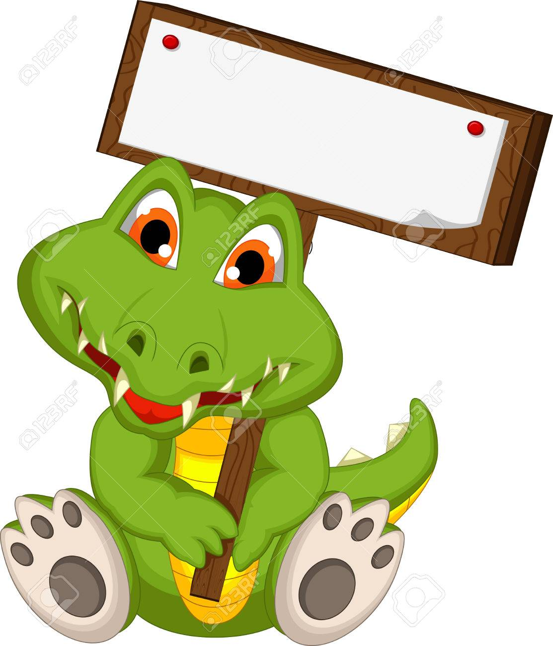 1113x1300 Cute Crocodile Cartoon Holding Blank Board Royalty Free Cliparts