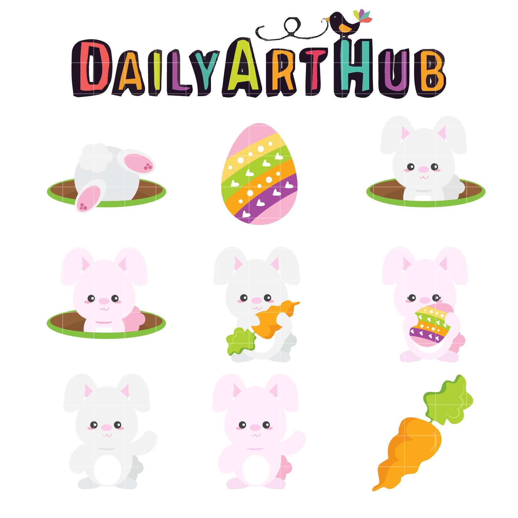 1650x1650 Cute Easter Bunny Clip Art Set Daily Art Hub