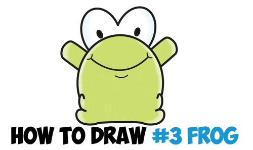500x297 How To Draw Cute Cartoon Baby Frog From Number 3 Shape Easy Step