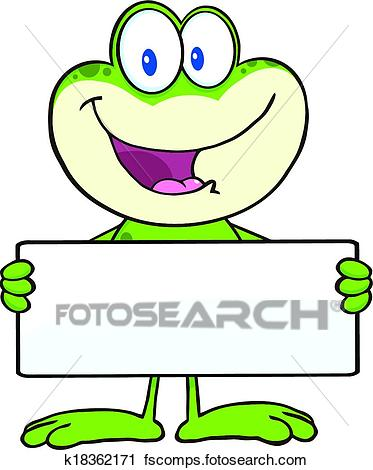 373x470 Clipart Of Cute Frog Holding A Banner K18362171