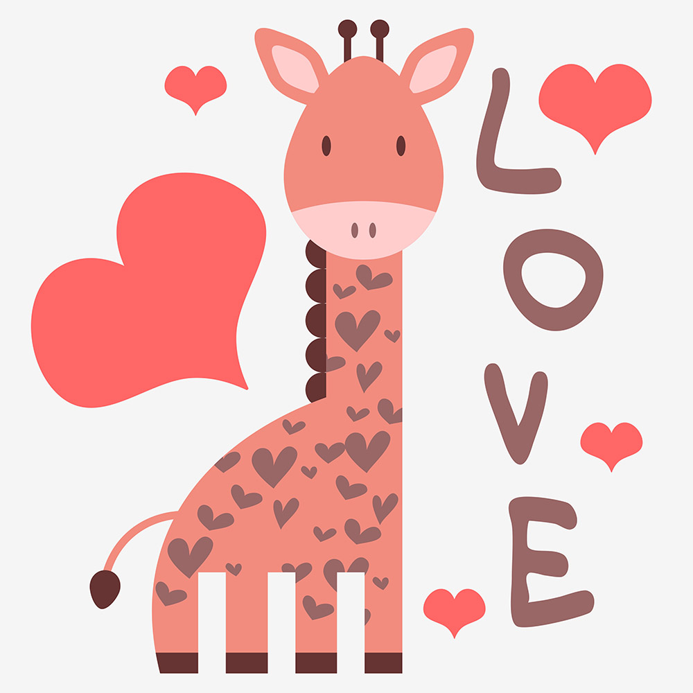 1000x1000 Cute Giraffe Art