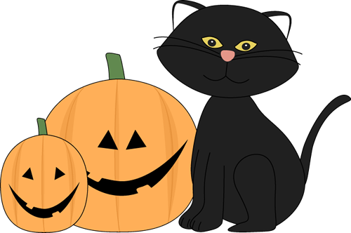 500x332 Halloween Black Cat And Jack O Lantern Clip Art
