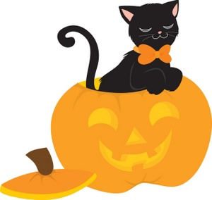 300x284 Black Cat Clipart Halloween Pumpkin