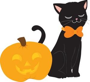 300x274 Graveyard Clipart Cute Halloween Cat