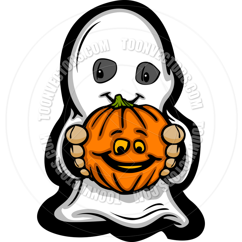 940x940 Cute Halloween Kid In Ghost Costume Cartoon Vector Illustration By