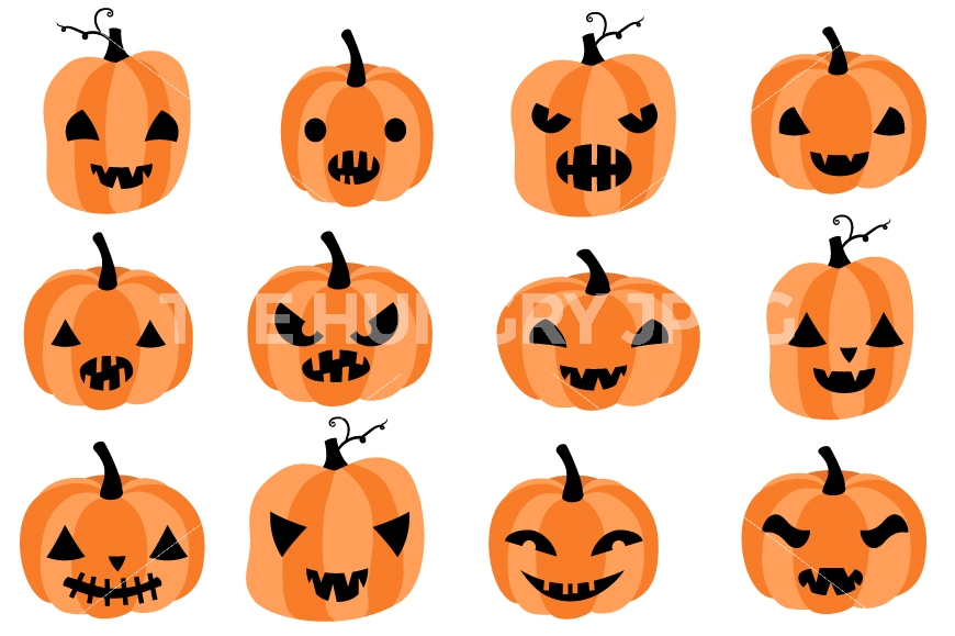 870x579 Cute Halloween Pumpkins Clipart, Spooky Pumpkin Faces Clip Art By