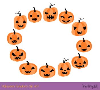 350x316 Halloween Pumpkins Clipart Set, Spooky Carved Pumpkin Face Jack O
