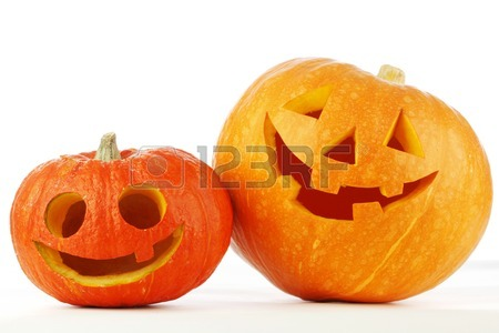 450x300 Two Cute Halloween Pumpkins Isolated On White Background Stock