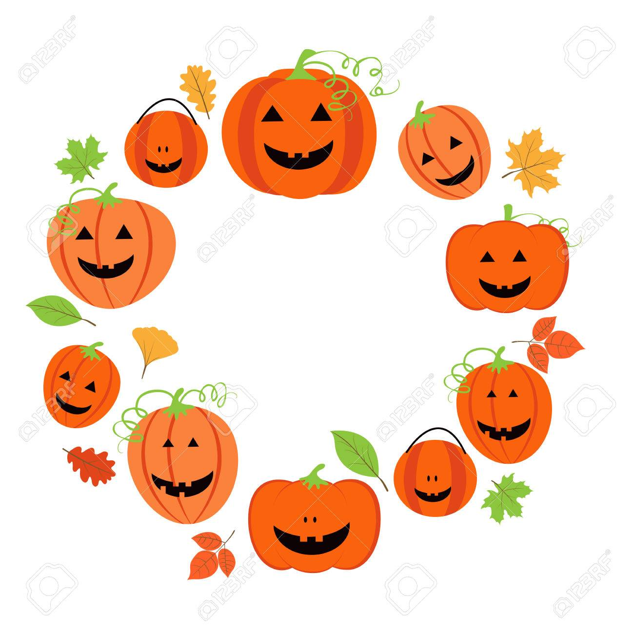 1300x1300 Cute Frame For Halloween With Pumpkins And Colorful Leaves Royalty