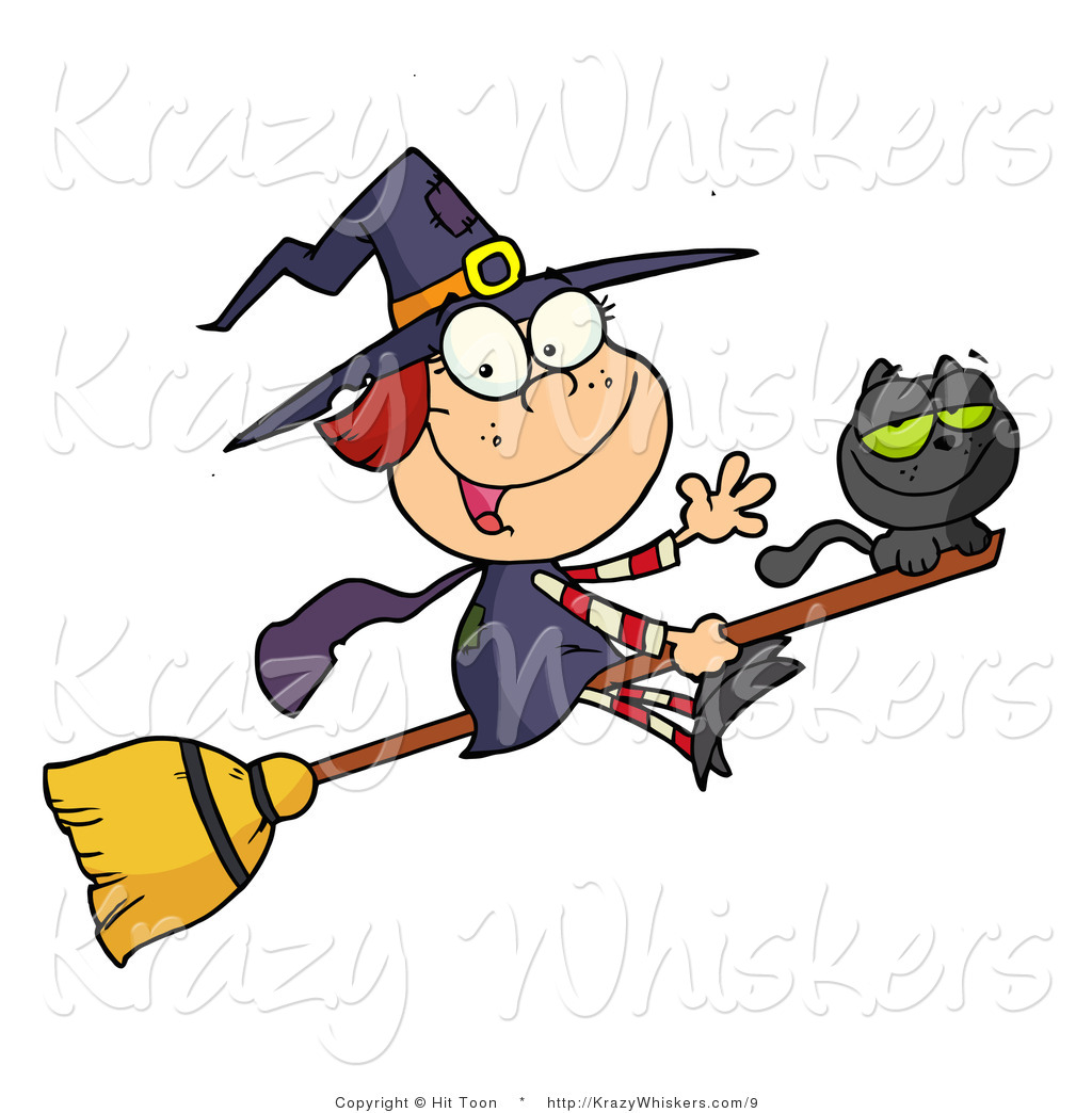 1024x1044 Vector Kitty Clipart Of A Cute Witch And Black Cat On A Broomstick