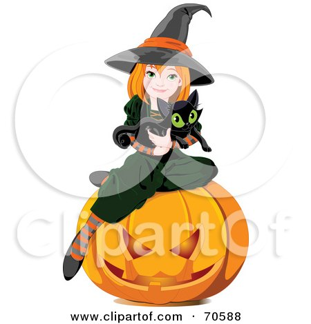 450x470 Cute Witch And Pumpkin Clipart