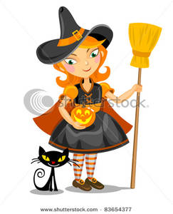 243x300 Cute Cartoon Witch Holding A Pumpkin And Broomstick While Looking