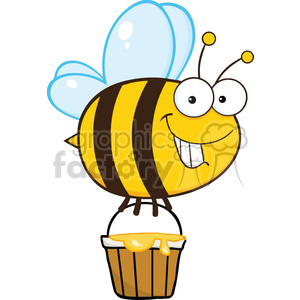 300x300 Royalty Free 6550 Royalty Free Clip Art Smiling Cute Bee Flying
