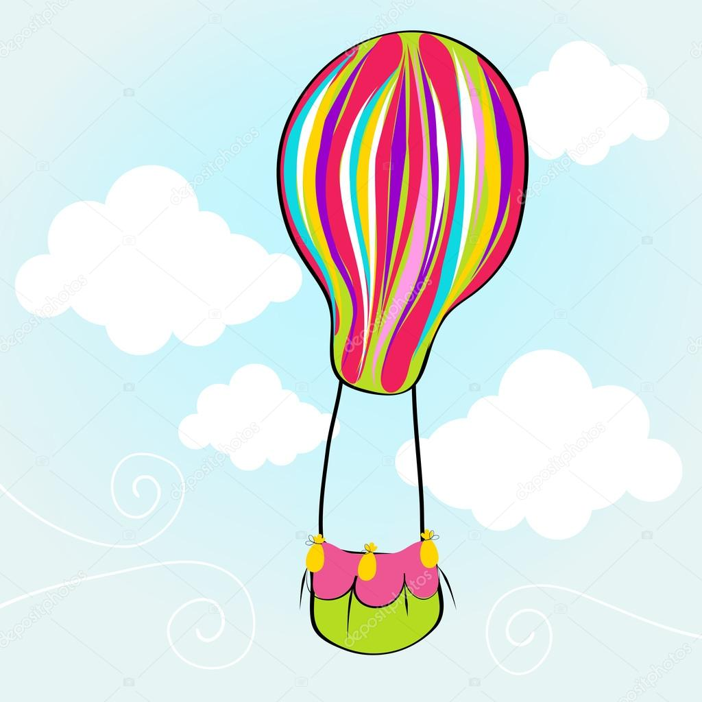 1024x1024 Cute Hot Air Balloon Flying In The Sky Stock Vector