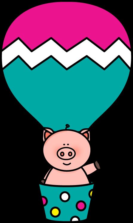 446x747 Pig In A Hot Air Balloon Clip Art