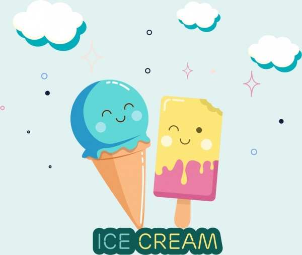 600x507 Ice creams background cute stylized design Free vector in Adobe