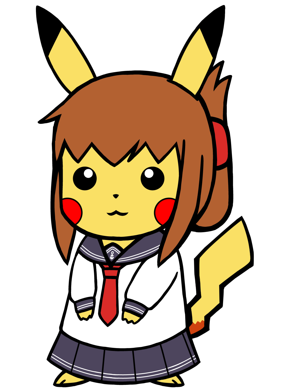 992x1374 Pikachu Dressed As A Cute Japanese Kanmusu Pokefication
