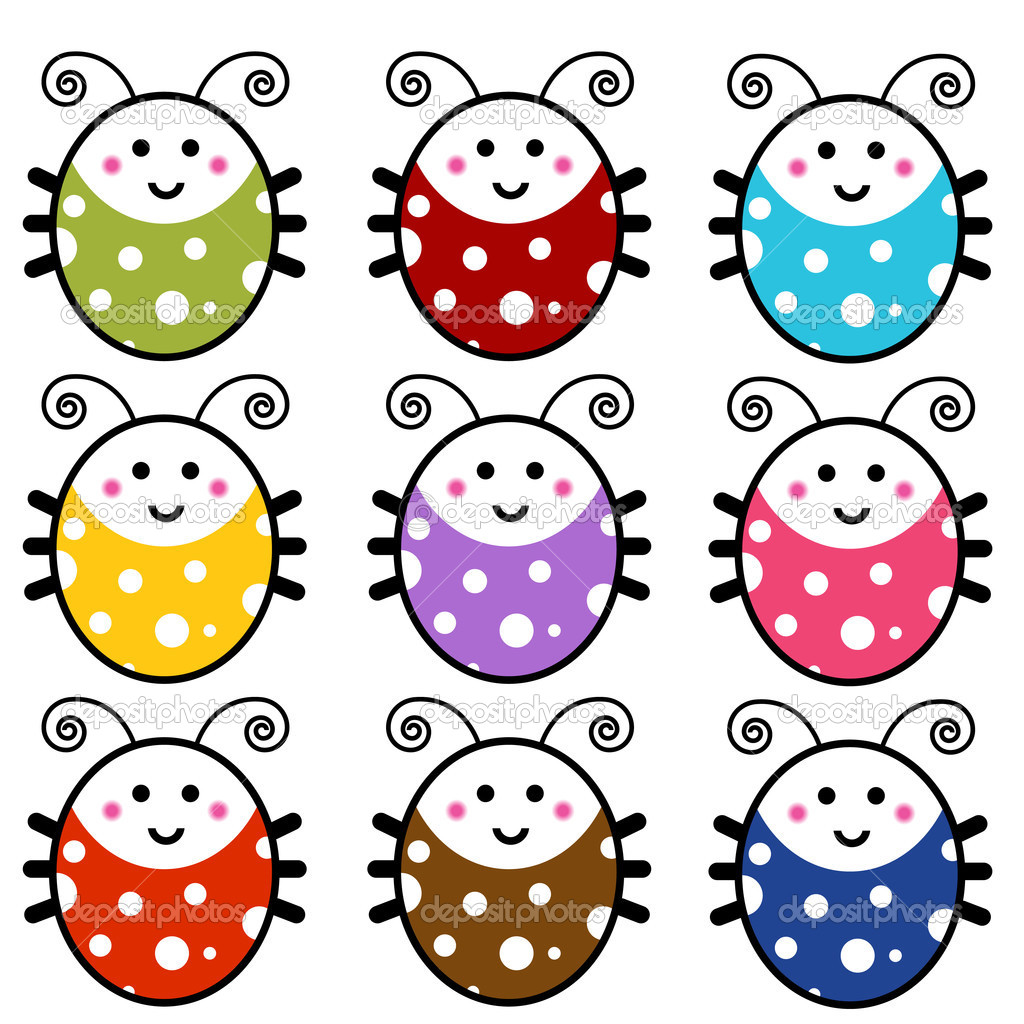 1024x1024 Cartoon Ladybug Cute Cartoon Ladybug Set Stock Vector John
