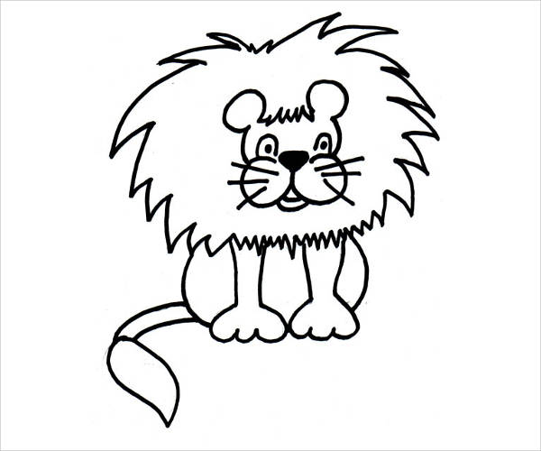 Cute Lion Clipart Black And White
