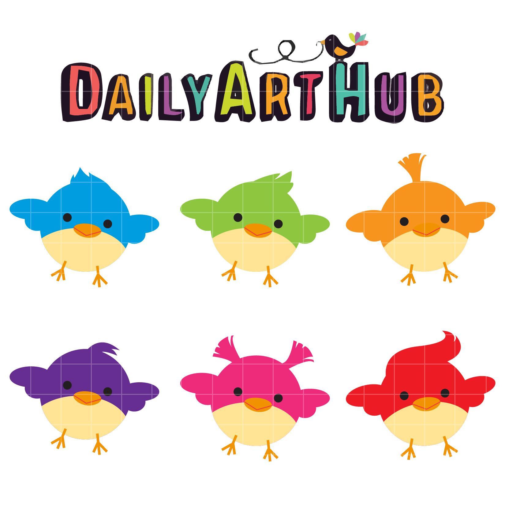 1650x1650 Cute Little Birds Clip Art Set Daily Art Hub
