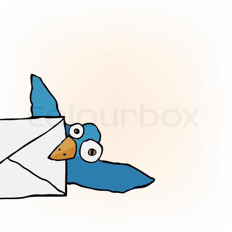 800x798 Cute Little Blue Bird Carrying An Envelope Stock Vector Colourbox
