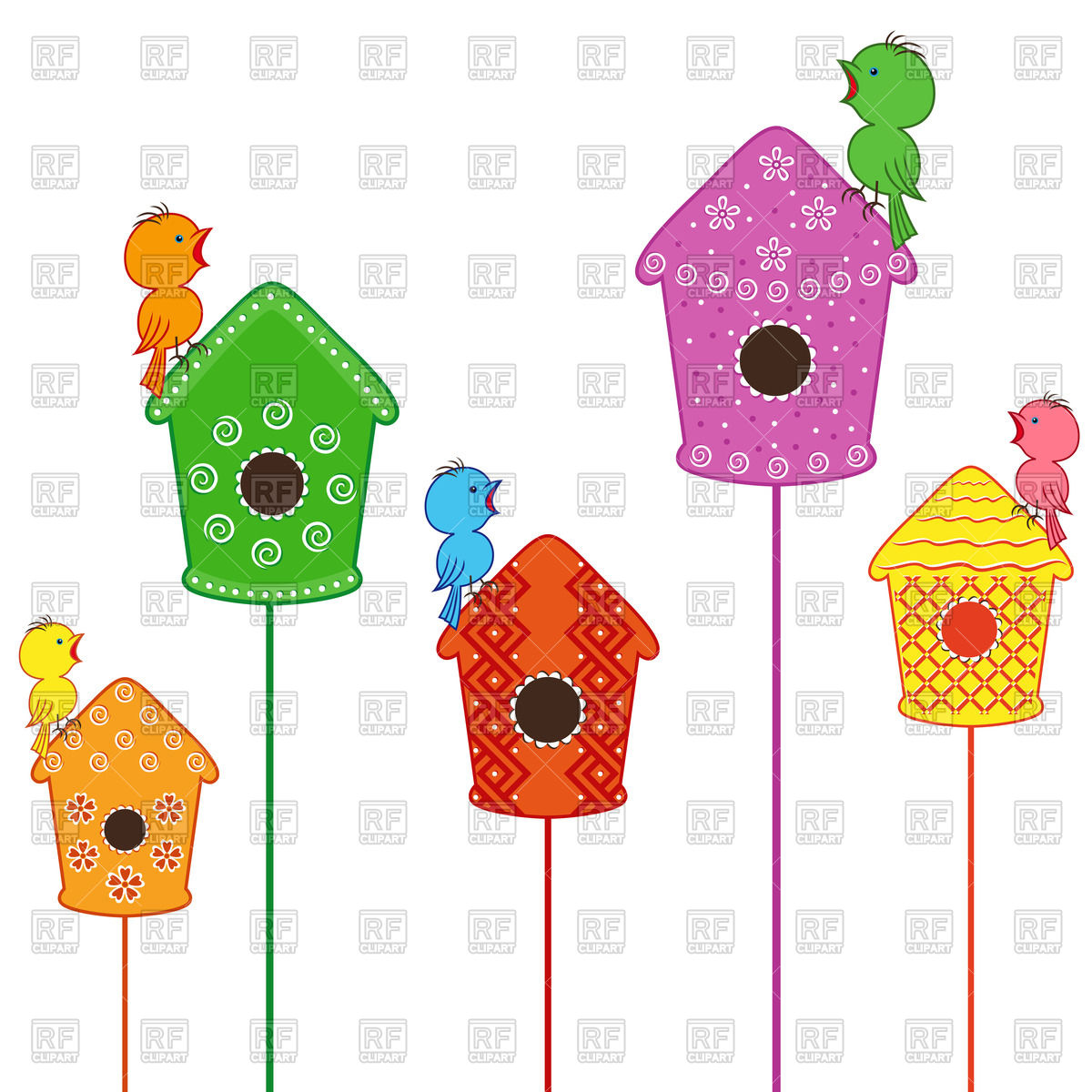 1200x1200 Cute Little Birds Sitting And Singing On Their Homes Royalty Free
