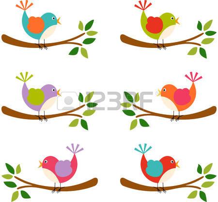 450x417 Cute Bird On Branch Clipart