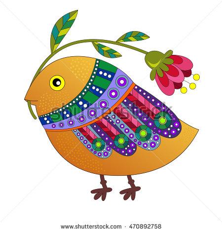 450x470 Little Bird With Flower. Cartoon Cute Vector Illustration