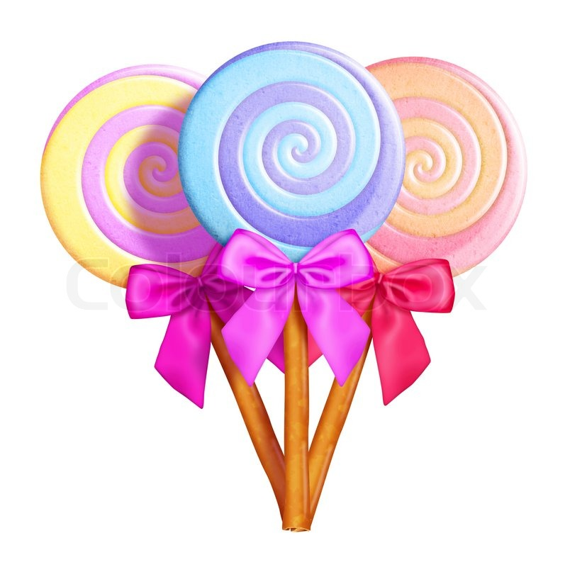 797x800 Illustrated Whimsical Lollipops With Bows Stock Photo Colourbox