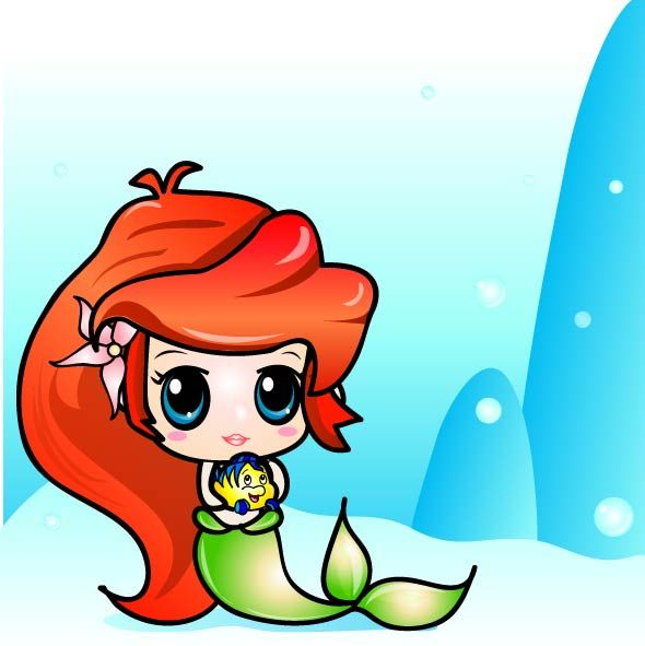 Cute Mermaid Drawing Free Download Best Cute Mermaid Drawing On