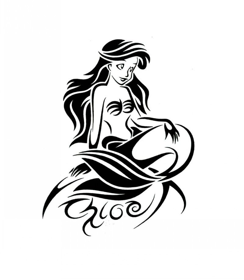 800x917 Black Ink Ariel Cartoon Mermaid Tattoo