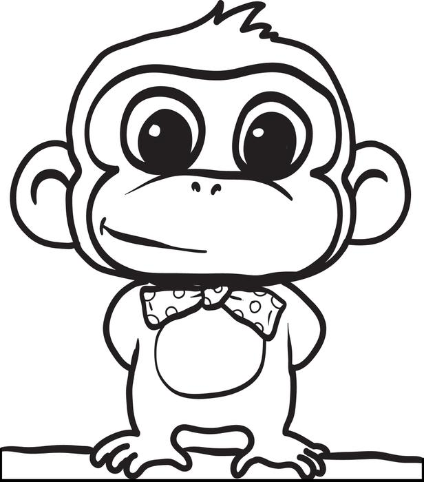 616x700 Cartoon Monkey Coloring Page