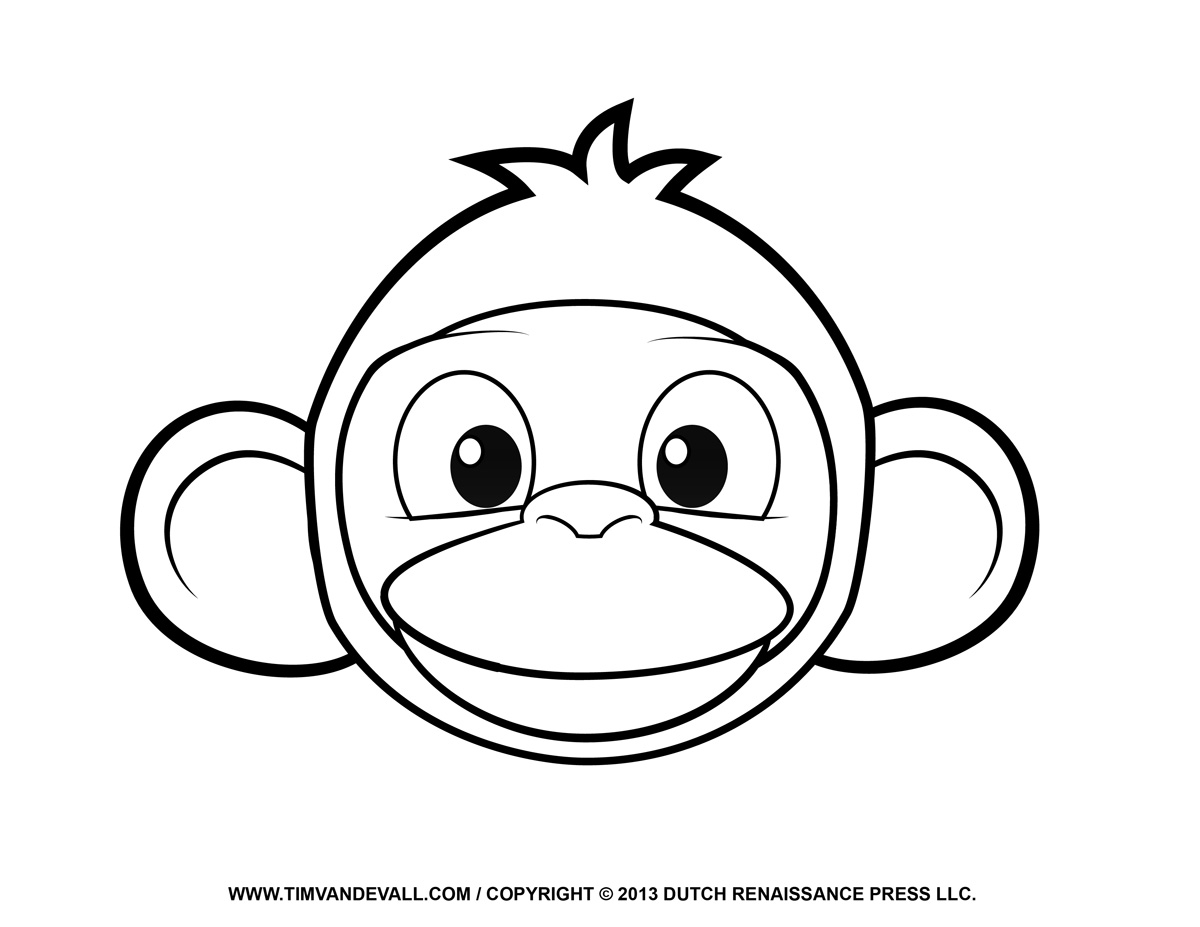 1200x927 Monkey Black And White Cute Face Clipart