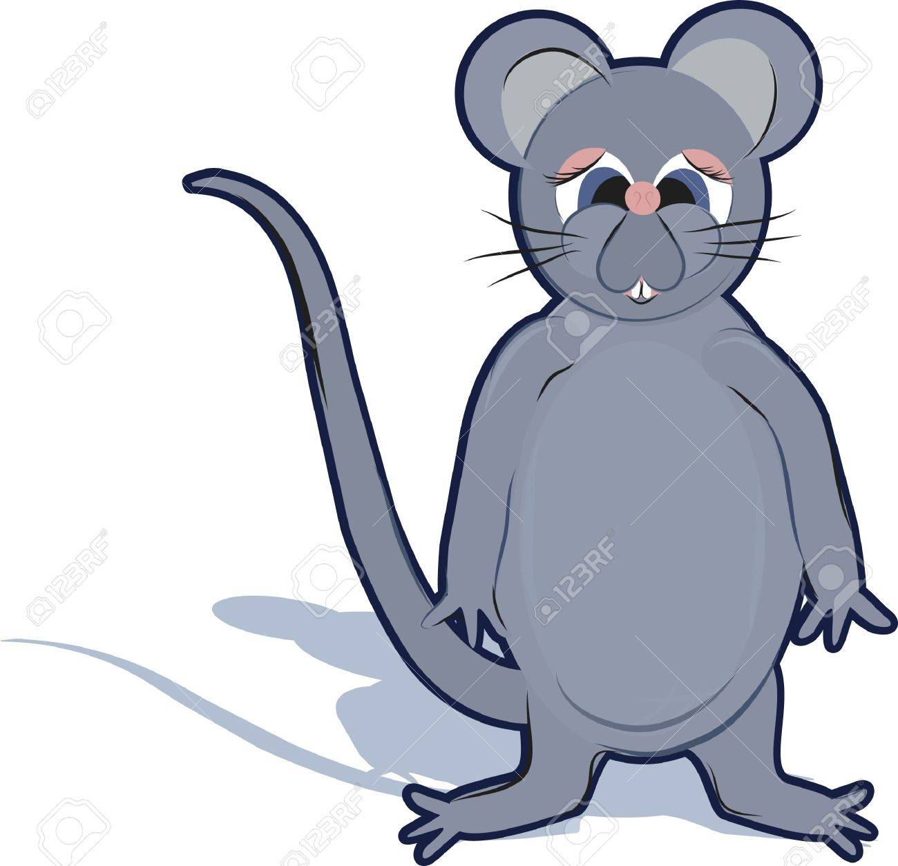 1300x1253 Cartoon Drawing Of A Cute Rat. Stock Photo, Picture And Royalty