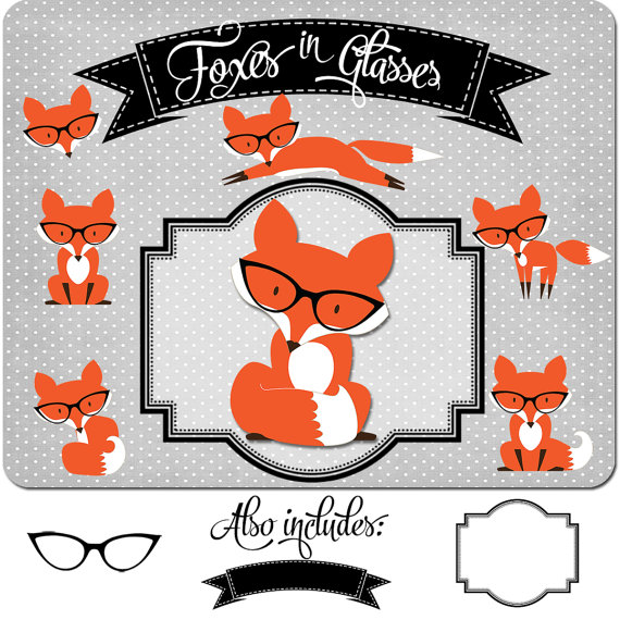 570x570 Dear Lover Of Red Foxes, This Cute Fox Clipart Set Is Sister