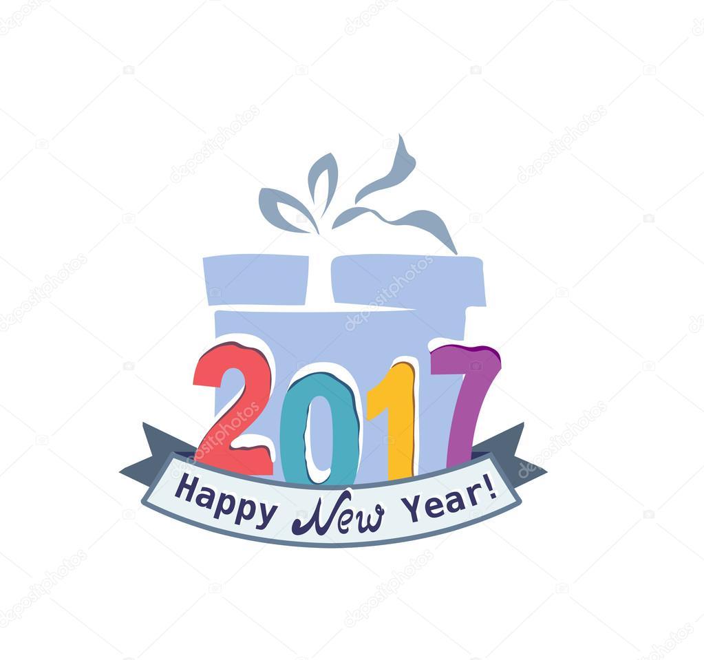 1023x959 Cute Happy New Year 2017 Greeting Stock Vector Anna Maximenko