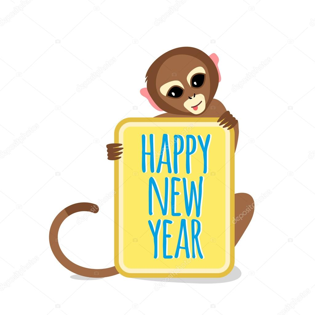 1024x1024 Cute Little Monkey With Happy New Year Card Stock Vector